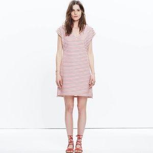 Madewell Striped Cream Cotton Shift Dress